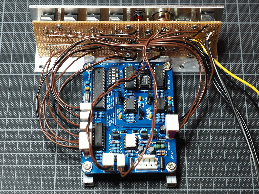 Midi2CV: PCB Mounted to Front Panel