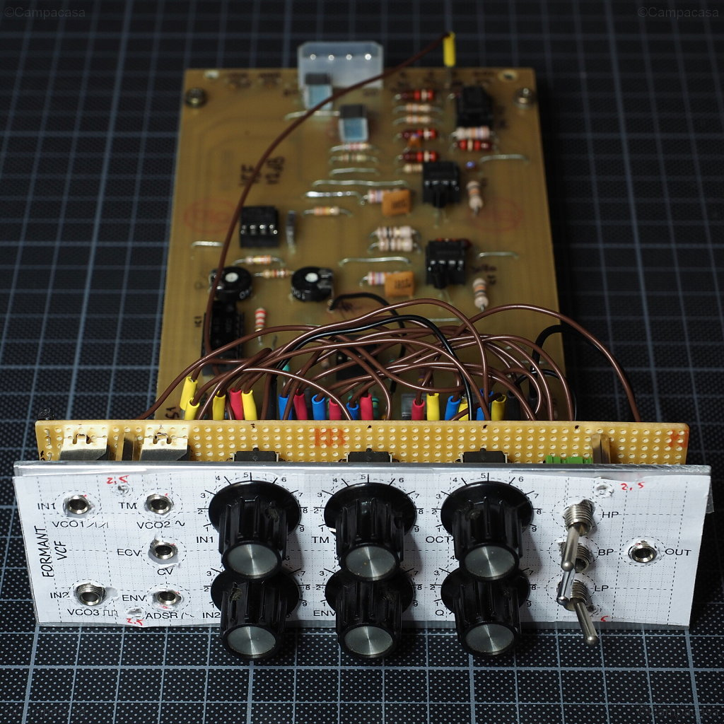 Formant VCF: Front View of Panel and Board